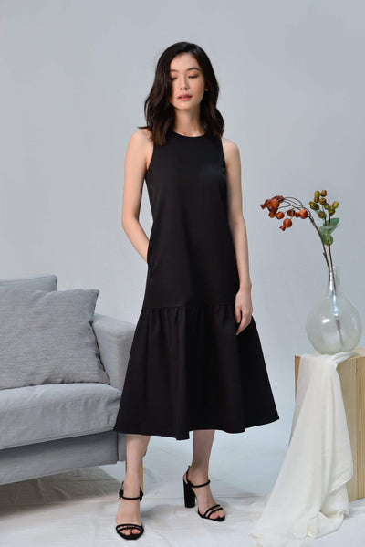 AWE Dresses SONIA BLACK CLASSIC DROPWAIST DRESS