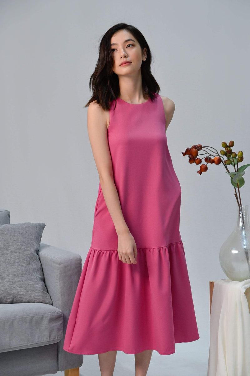 SONIA HOT PINK CLASSIC DROPWAIST DRESS