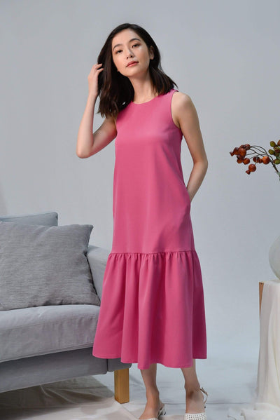 AWE Dresses SONIA HOT PINK CLASSIC DROPWAIST DRESS