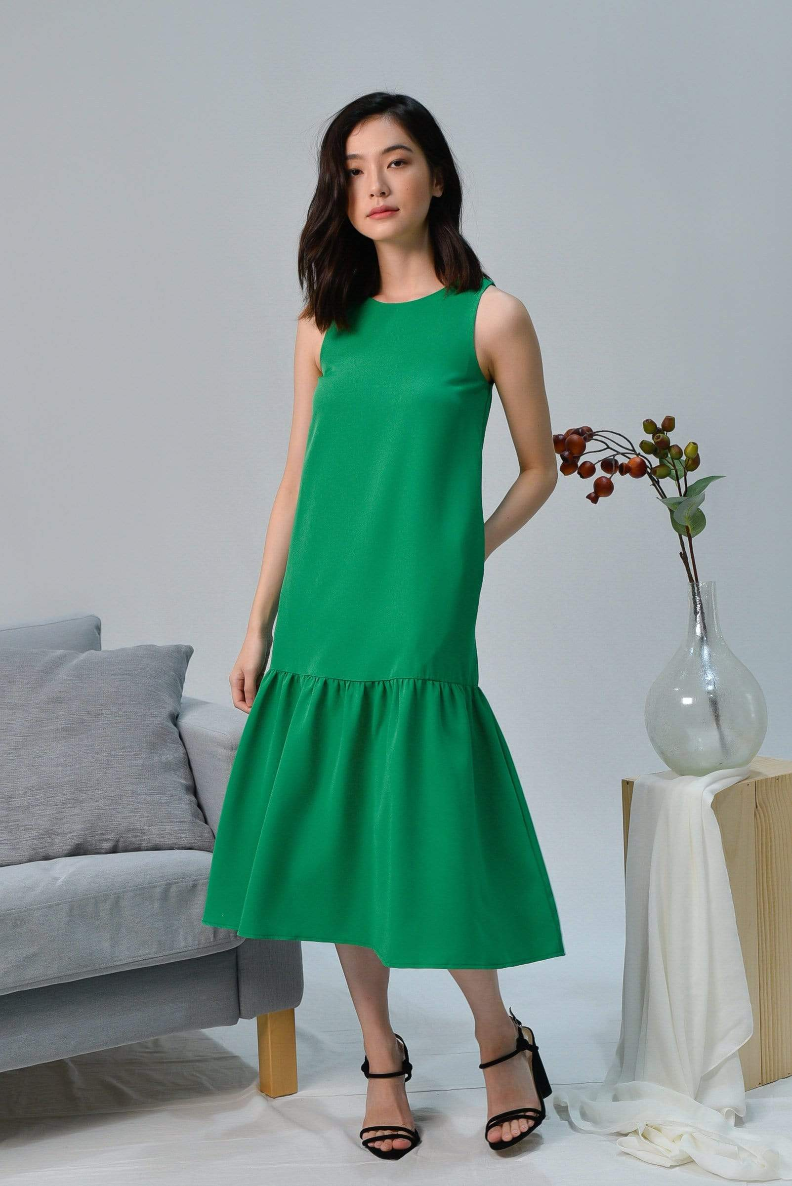 SONIA KELLY GREEN CLASSIC DROPWAIST DRESS