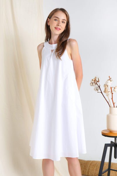 AWE Dresses SOPHIA WHITE KEYHOLE COTTON DRESS