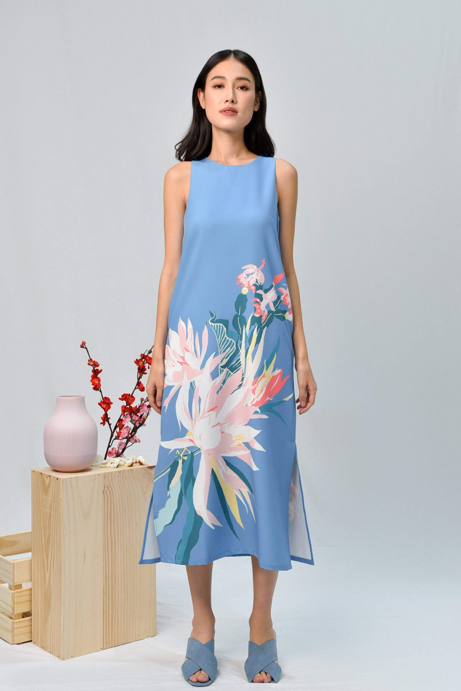 SPRING SIDE-SLIT MIDI IN CORNFLOWER