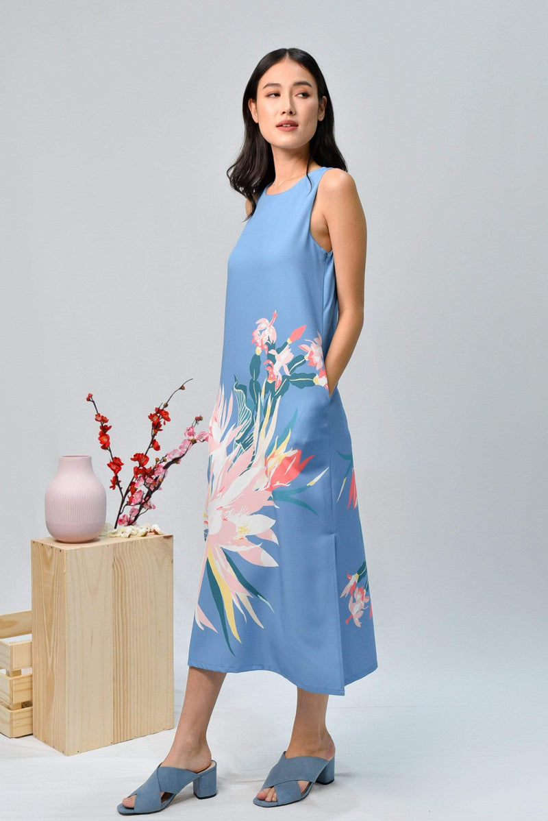 AWE Dresses SPRING SIDE-SLIT MIDI IN CORNFLOWER