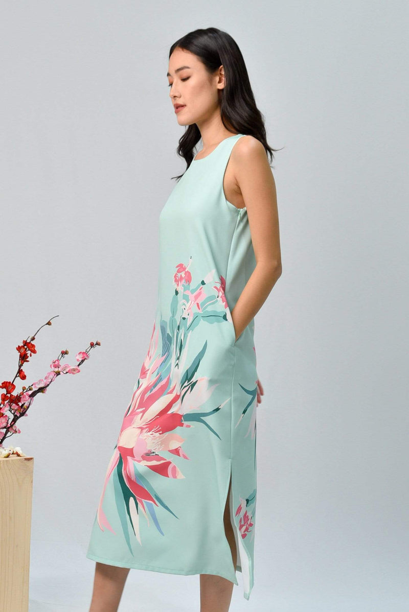 SPRING SIDE-SLIT MIDI IN FRESH MINT