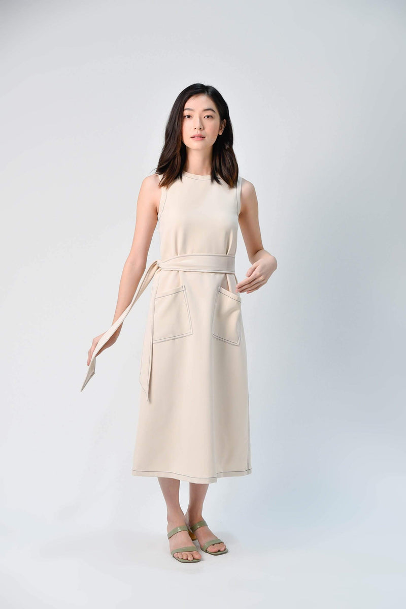 AWE Dresses STITCHED MIDI DRESS IN BEIGE