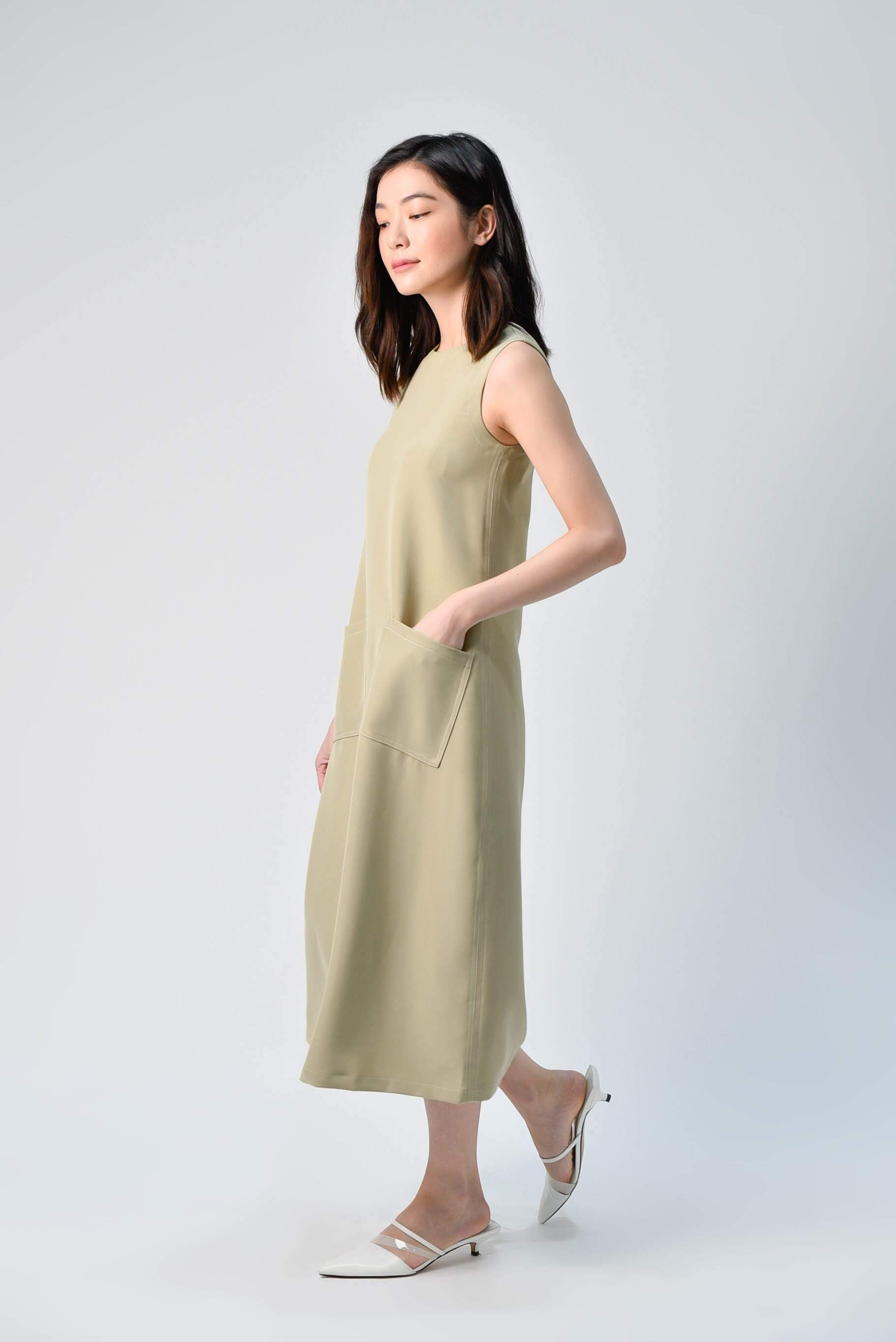AWE Dresses STITCHED MIDI DRESS IN LIGHT OLIVE