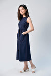AWE Dresses STITCHED MIDI DRESS IN NAVY