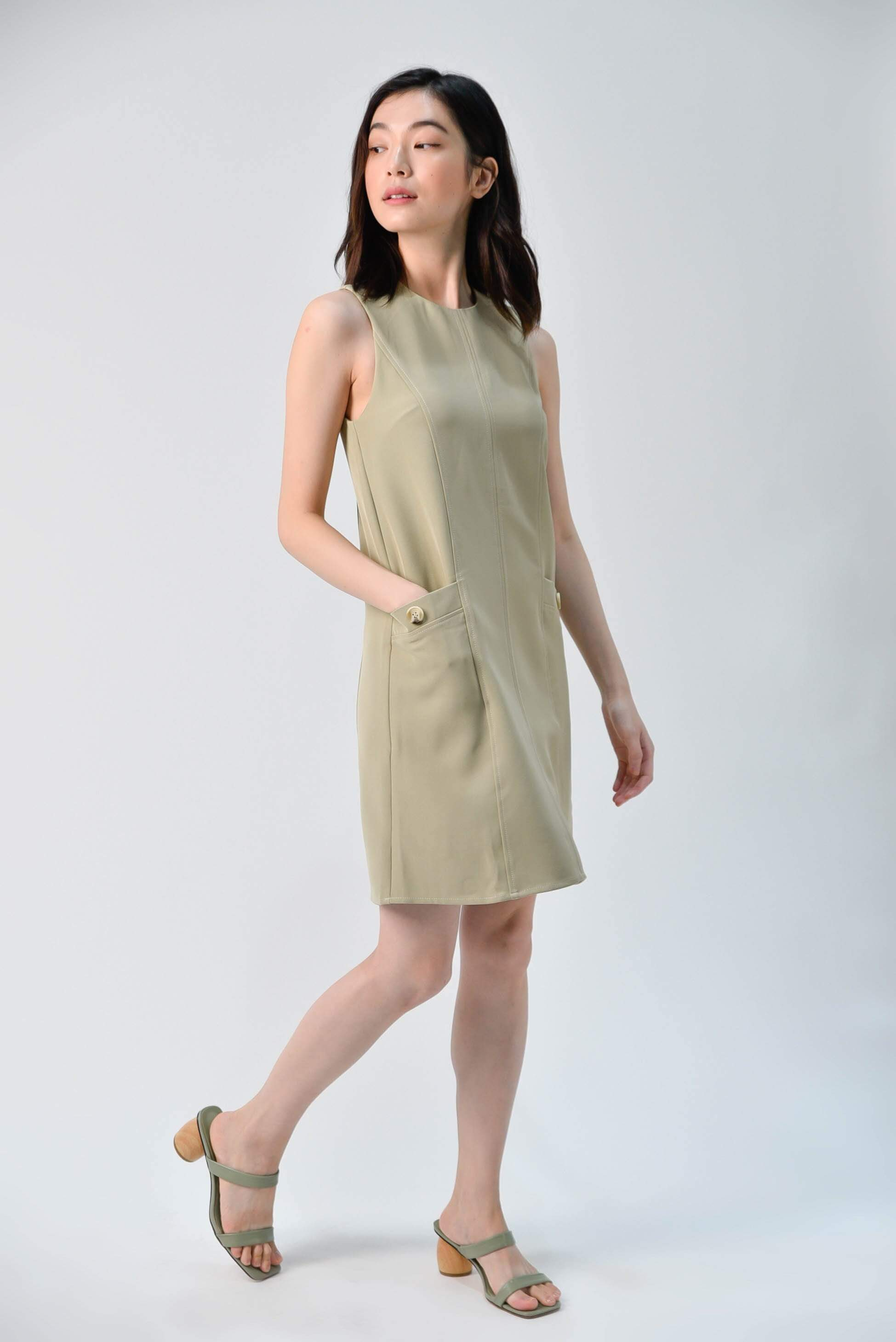 AWE Dresses STITCHED SHIFT DRESS IN LIGHT OLIVE