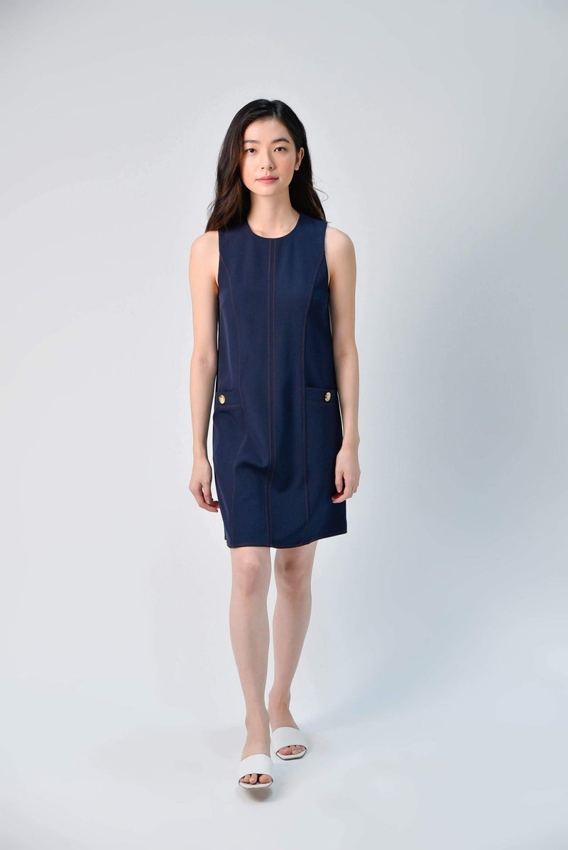 AWE Dresses STITCHED SHIFT DRESS IN NAVY