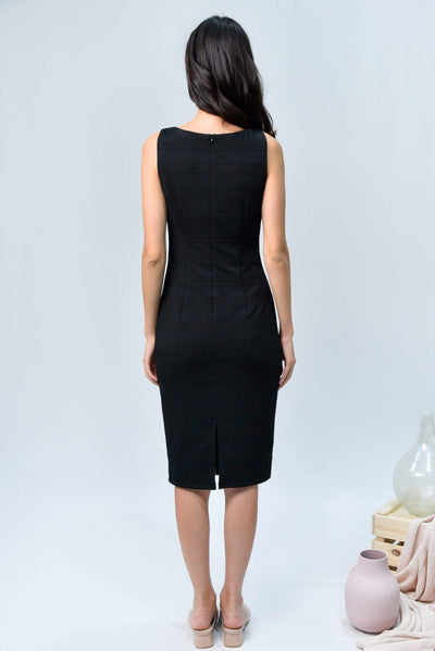 AWE Dresses TESSA BLACK TEXTURED RIBBED DRESS