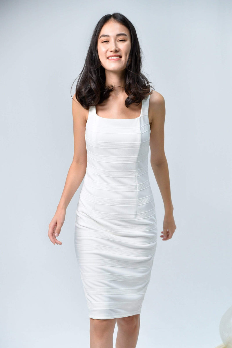TESSA WHITE TEXTURED RIBBED DRESS