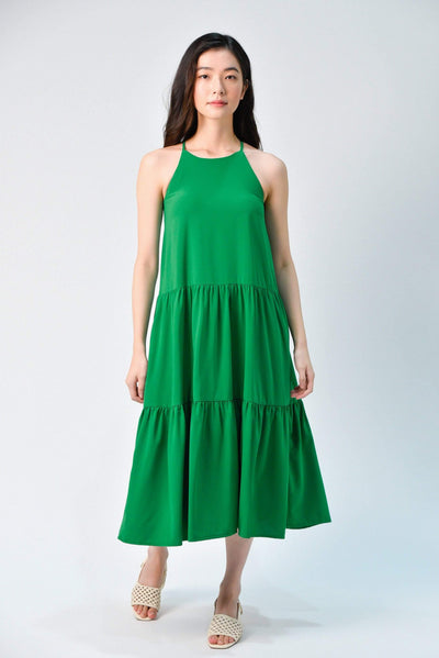 AWE Dresses TIFFANY KELLY GREEN HIGH-NECK TIERED MIDI DRESS