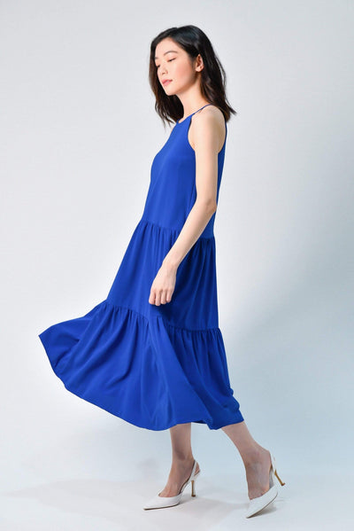 AWE Dresses TIFFANY ROYAL BLUE HIGH-NECK TIERED MIDI DRESS