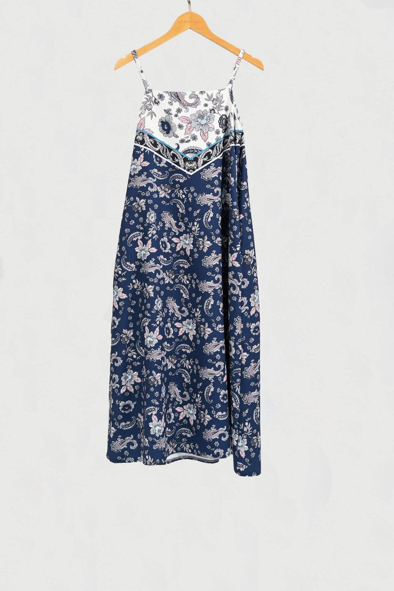 TORI NAVY PAISLEY TWO-WAY TENT DRESS