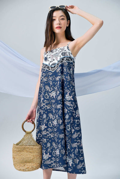 AWE Dresses TORI NAVY PAISLEY TWO-WAY TENT DRESS
