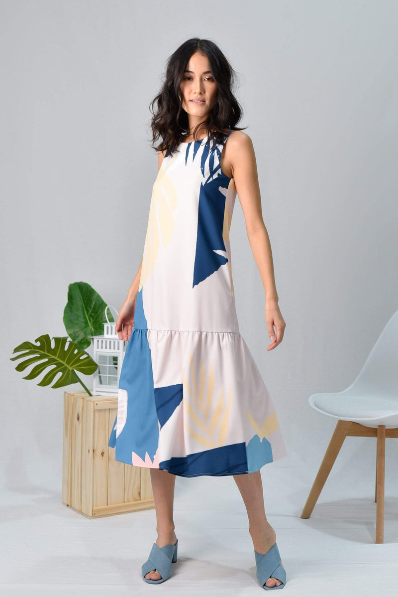 TROPICAL DROPWAIST MIDI DRESS IN BORA BORA