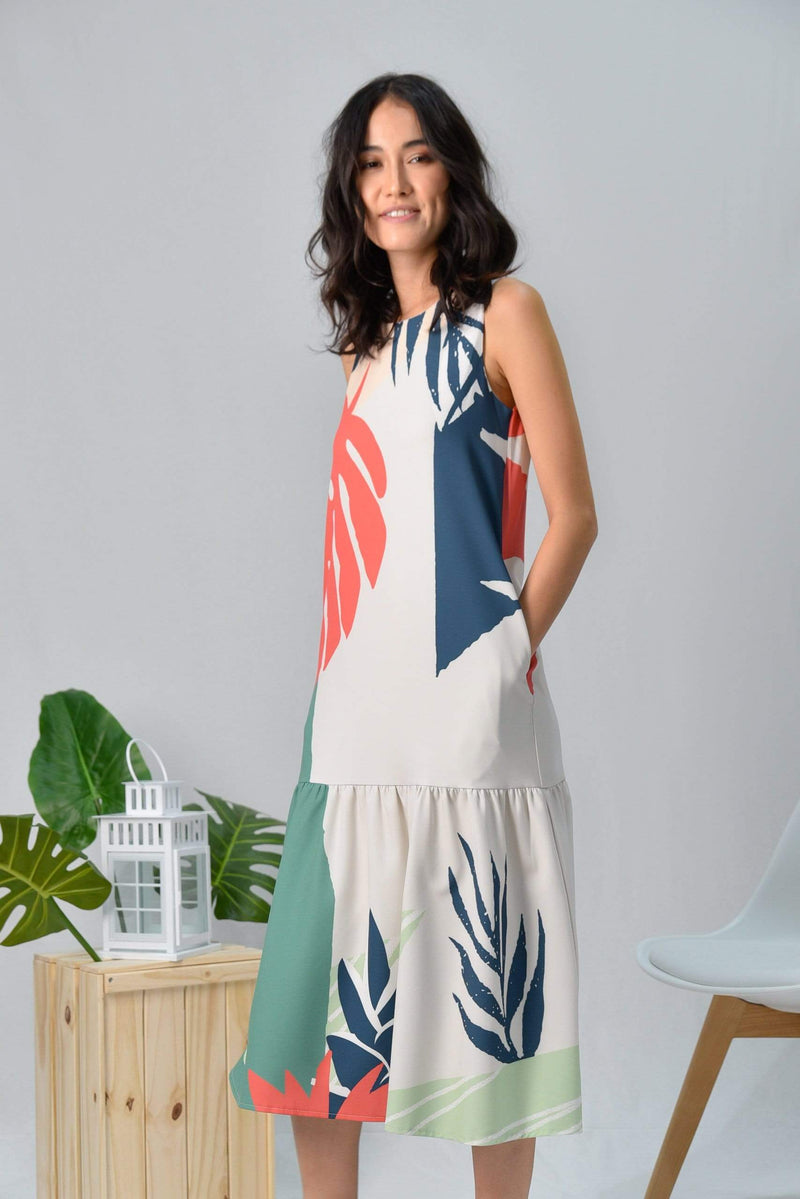 TROPICAL DROPWAIST MIDI DRESS IN MALDIVES