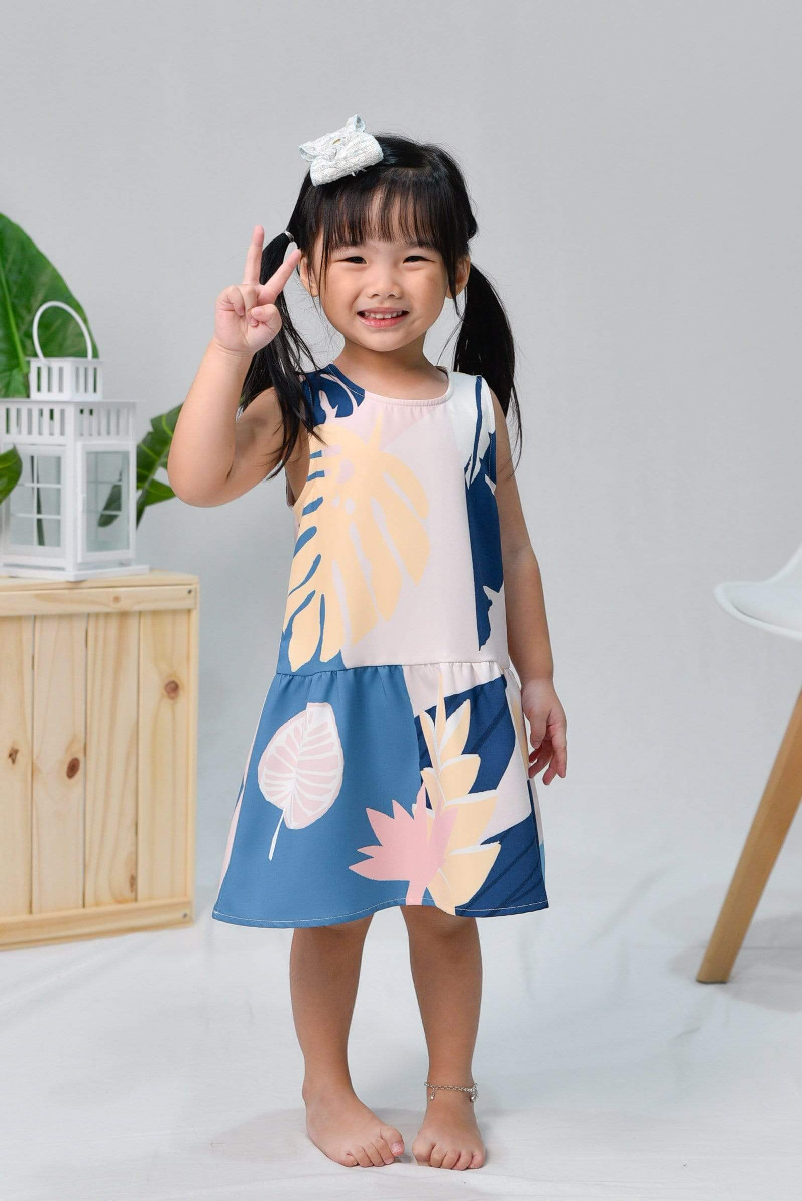 TROPICAL KIDS DROPWAIST DRESS IN BORA BORA