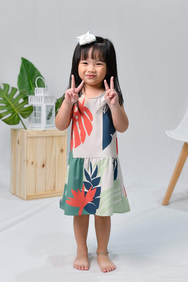 TROPICAL KIDS DROPWAIST DRESS IN MALDIVES