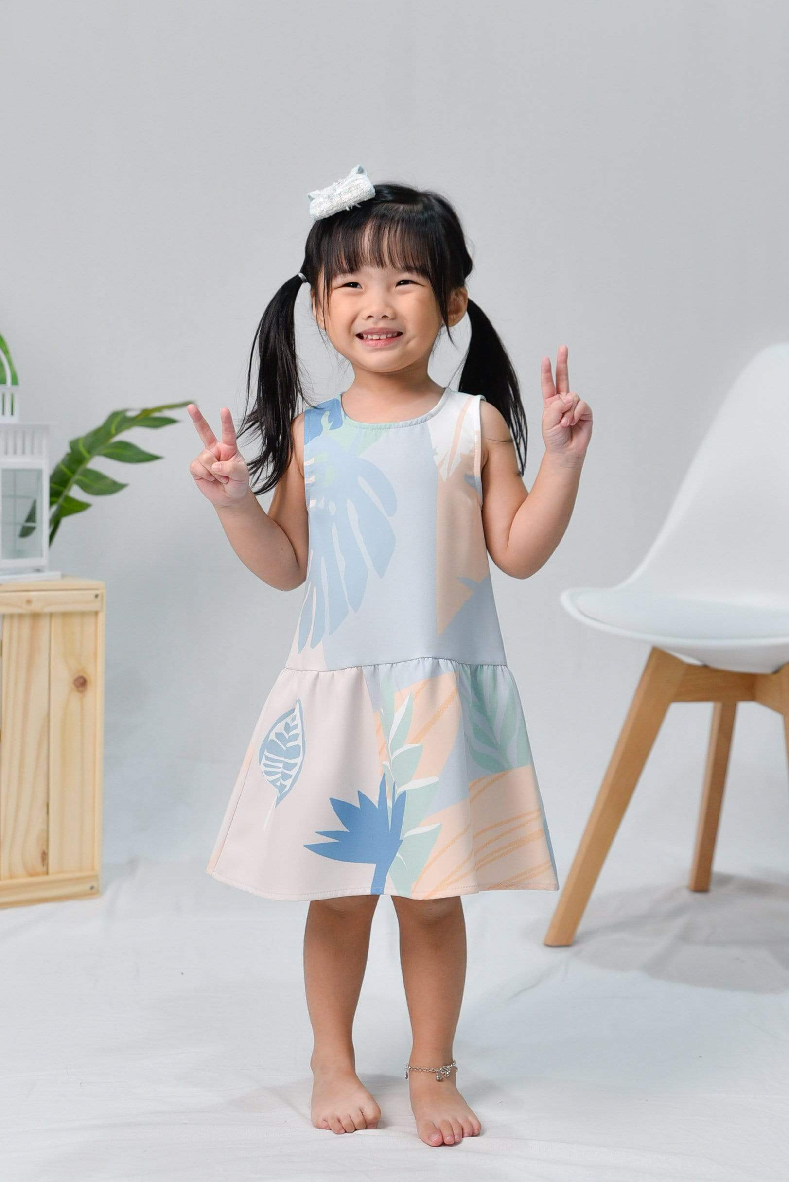 TROPICAL KIDS DROPWAIST DRESS IN SANTORINI