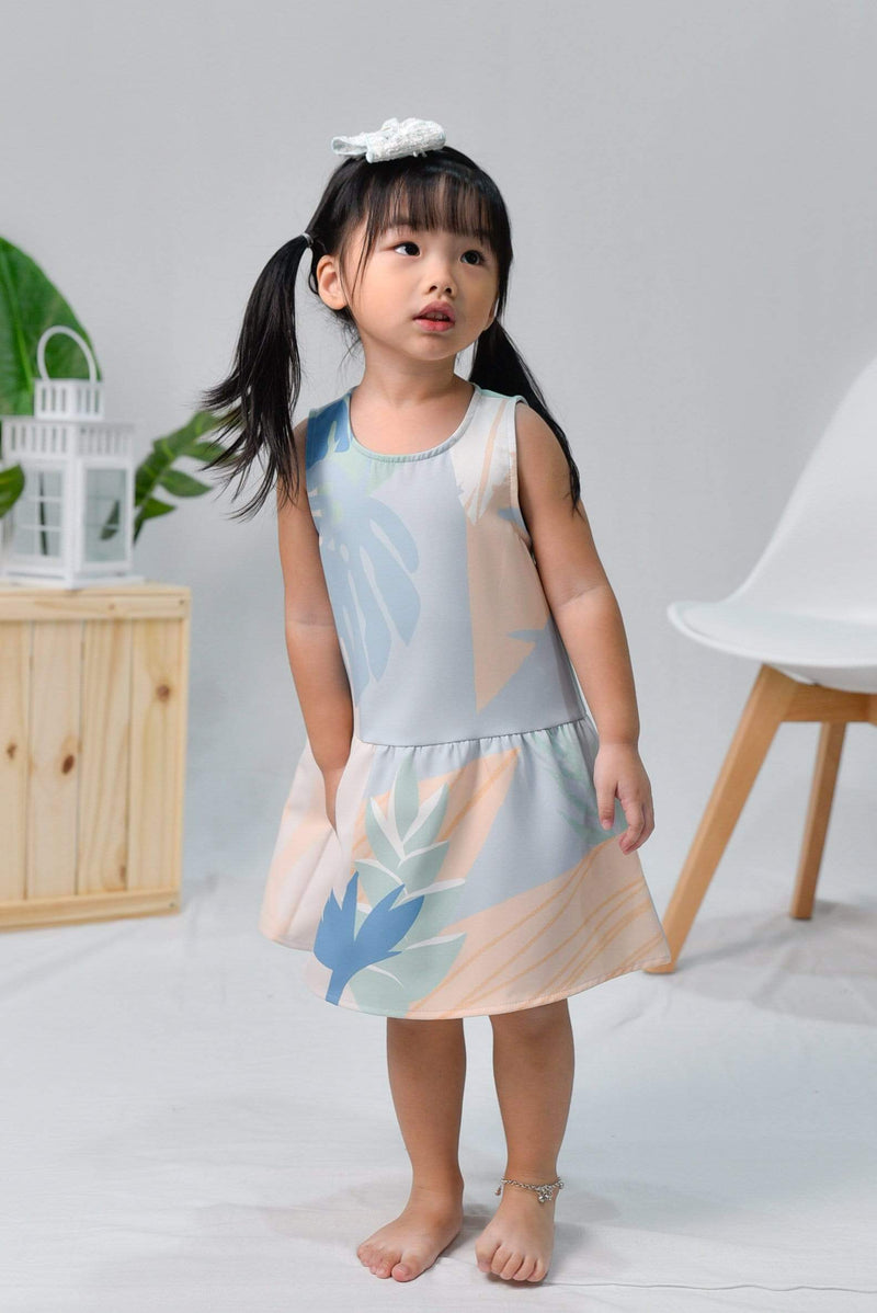 AWE Dresses TROPICAL KIDS DROPWAIST DRESS IN SANTORINI