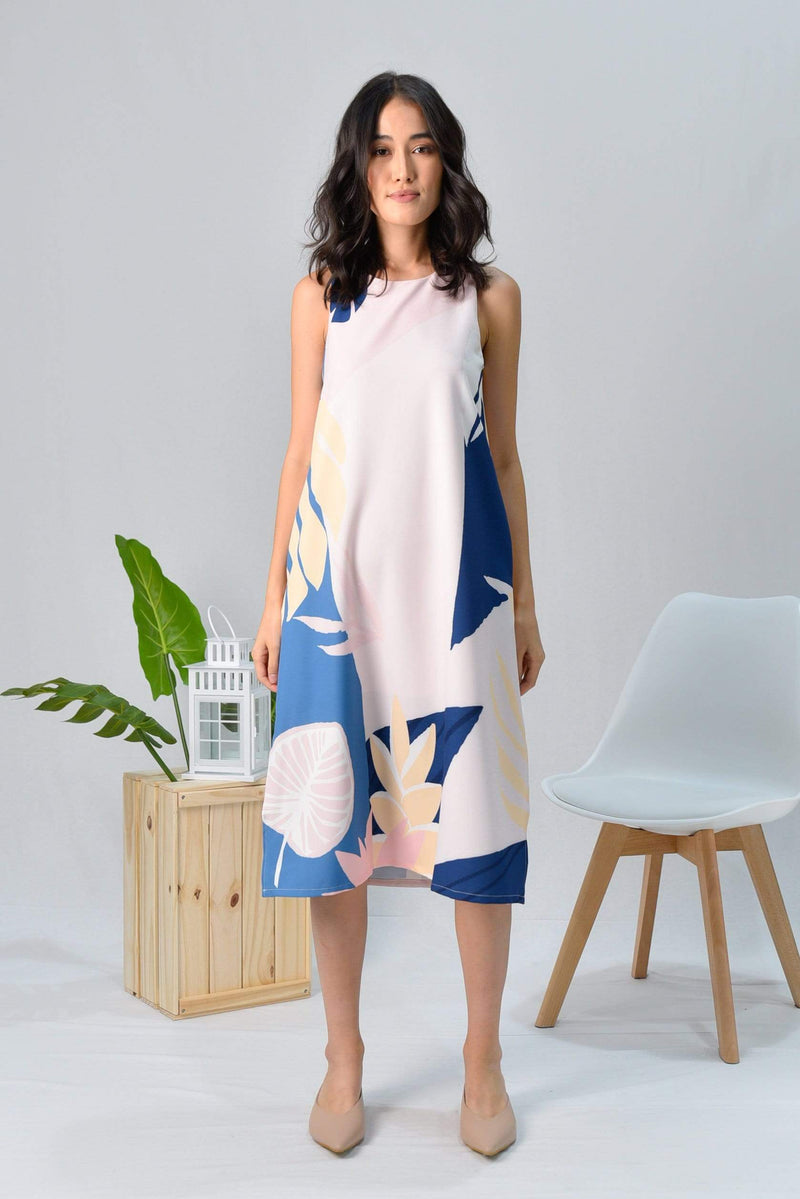 TROPICAL SLIT A-LINE MIDI DRESS IN BORA BORA