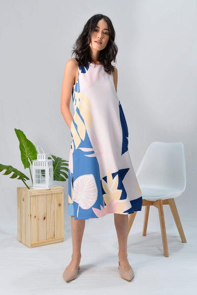 AWE Dresses TROPICAL SLIT A-LINE MIDI DRESS IN BORA BORA