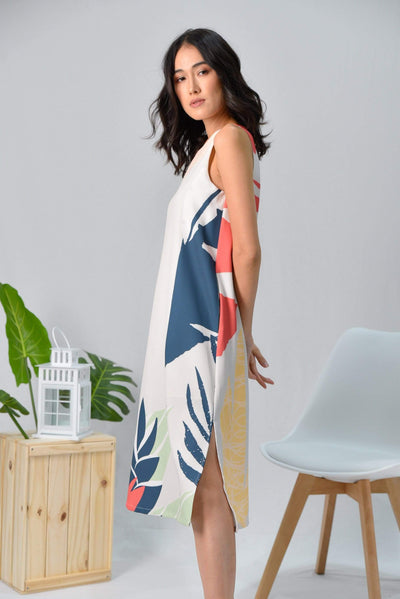 AWE Dresses TROPICAL SLIT A-LINE MIDI DRESS IN MALDIVES