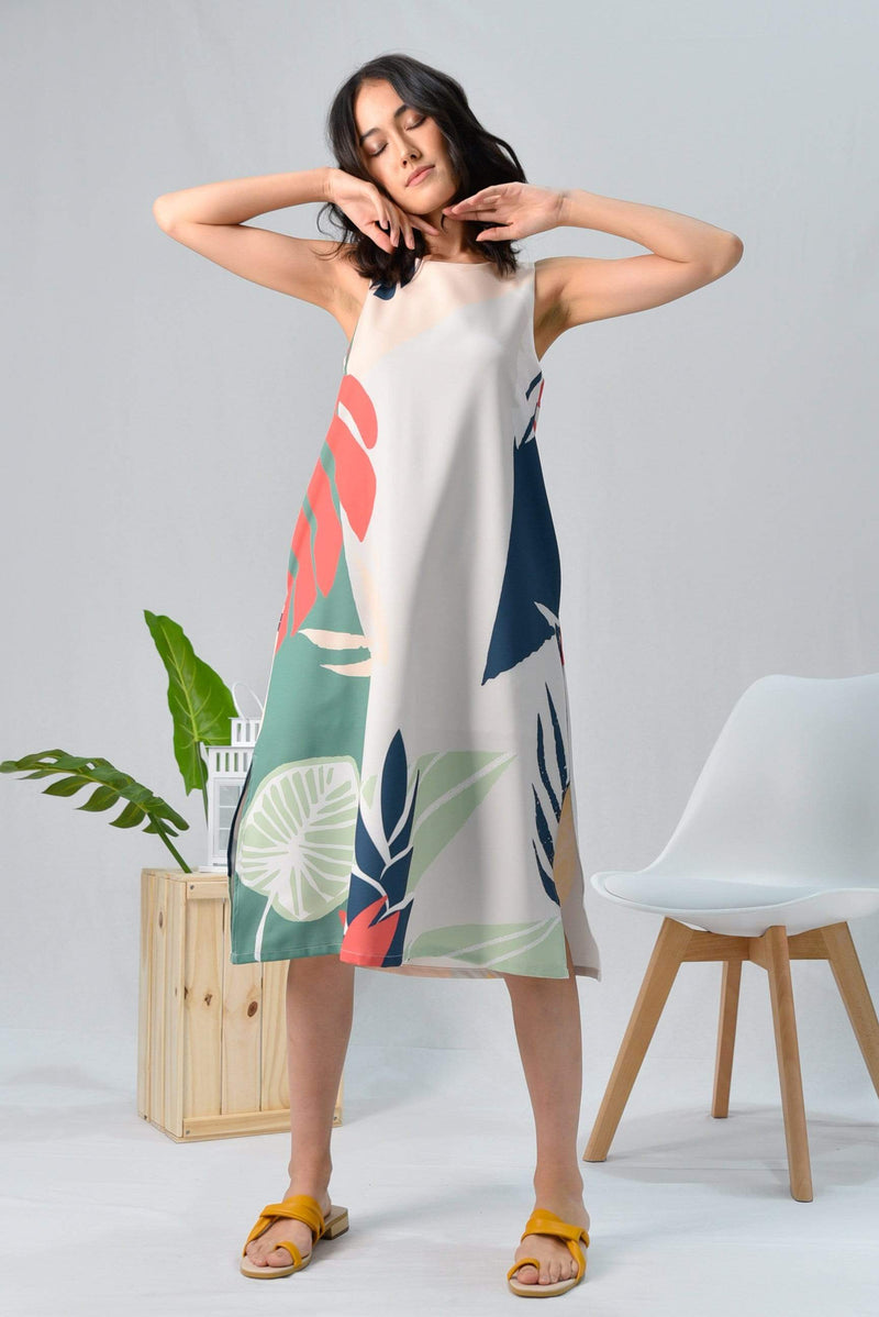 *BACKORDER* TROPICAL SLIT A-LINE MIDI DRESS IN MALDIVES