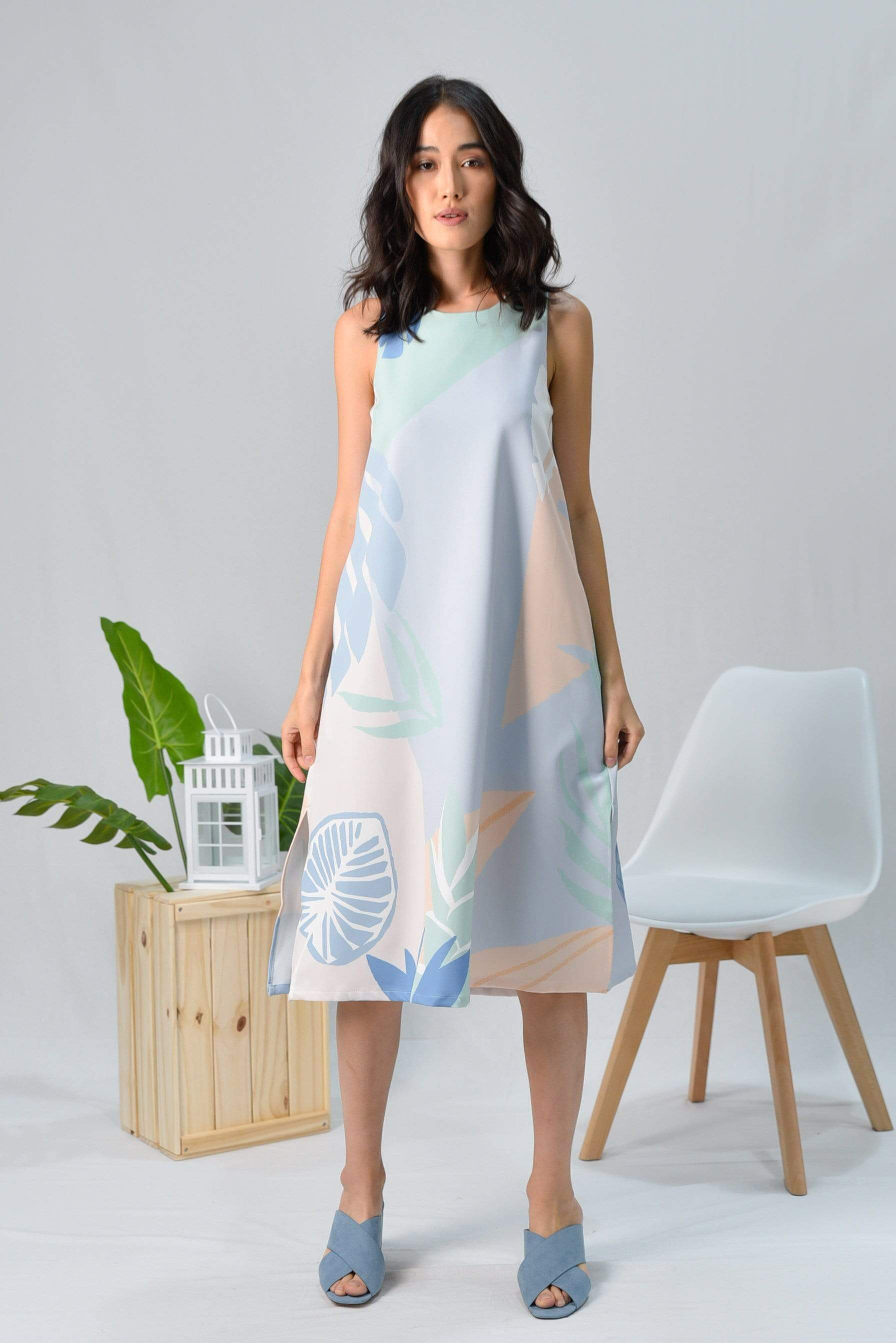 TROPICAL SLIT A-LINE MIDI DRESS IN SANTORINI