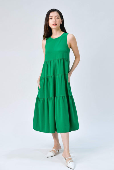 AWE Dresses VALYRA KELLY GREEN TIERED MIDI DRESS