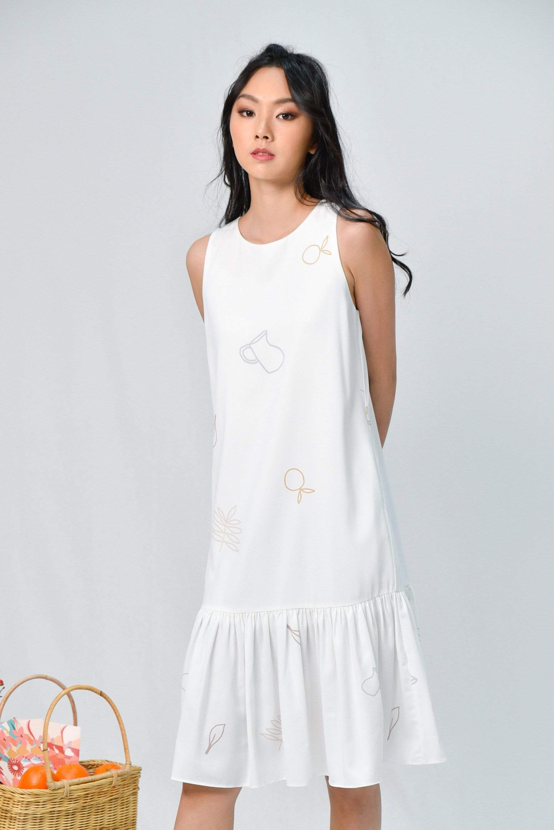 VERA WHITE PICNIC DROPWAIST DRESS