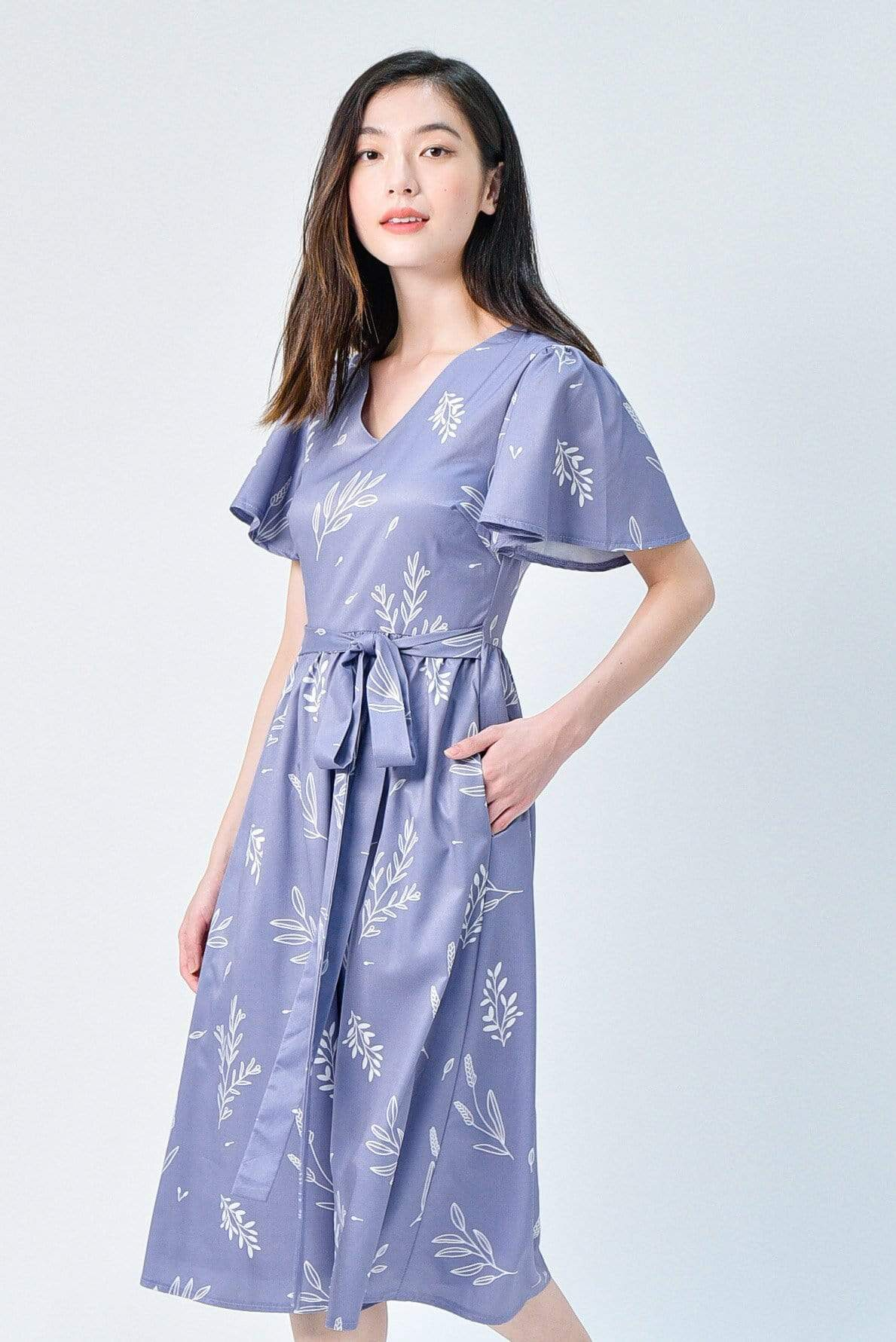 VIOLA LAVENDER FOLIAGE SLEEVED DRESS