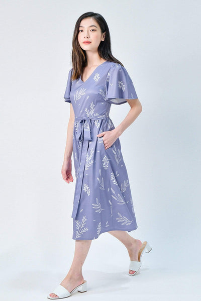 AWE Dresses VIOLA LAVENDER FOLIAGE SLEEVED DRESS