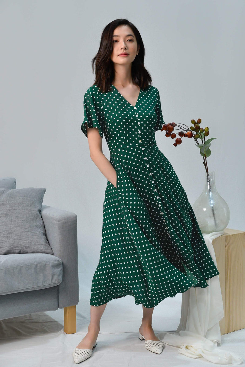 VIOLET GREEN POLKA BUTTON MIDI DRESS