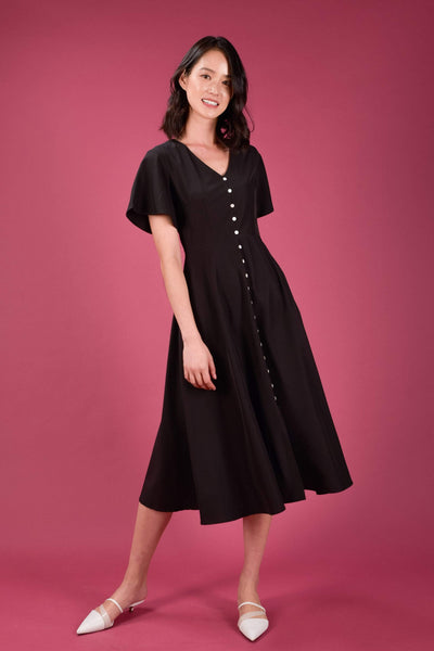 AWE Dresses VIOLET SLEEVED BUTTON DRESS IN BLACK