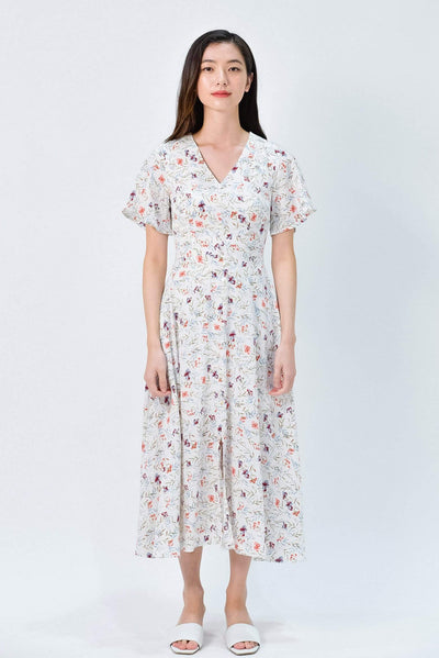 AWE Dresses VIOLET WHITE FLORAL BUTTON MIDI DRESS