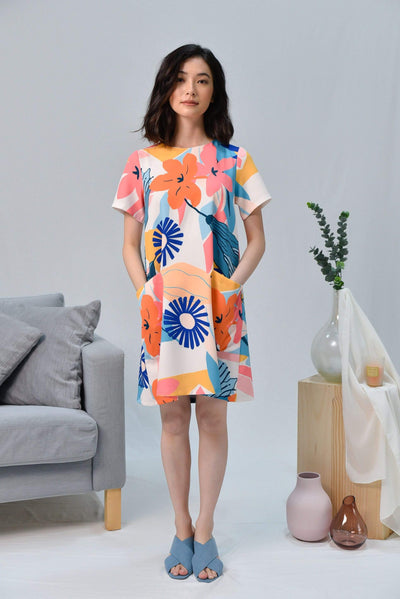 AWE Dresses WILDFLOWER POCKET SLEEVED DRESS IN FIREWOOD