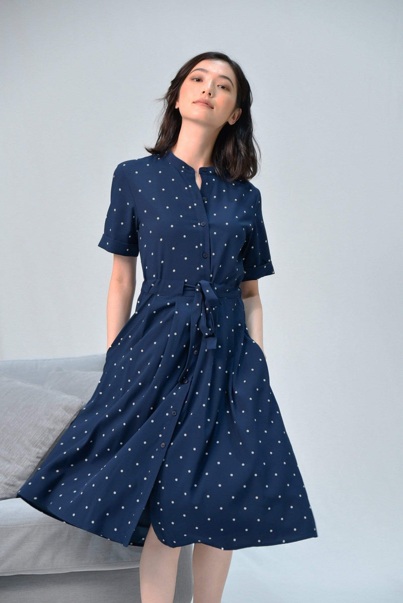 WYNN NAVY POLKA DRAWSTRING SHIRT DRESS