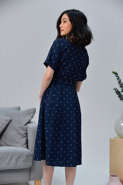 AWE Dresses WYNN NAVY POLKA DRAWSTRING SHIRT DRESS
