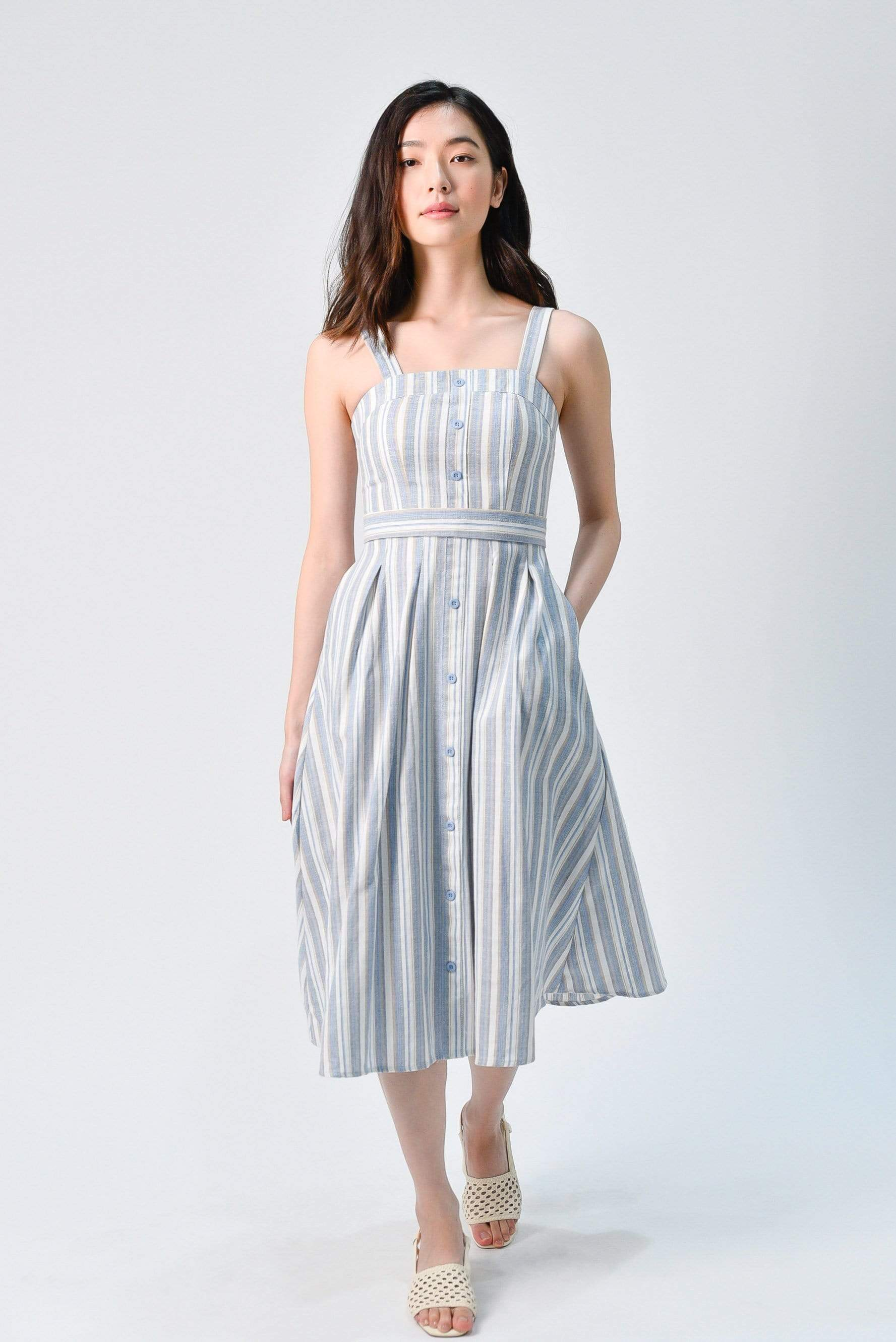 YEONA BLUE STRIPE DRESS