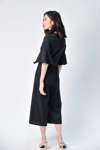 AWE One Piece BOA BLACK LINEN JUMPSUIT