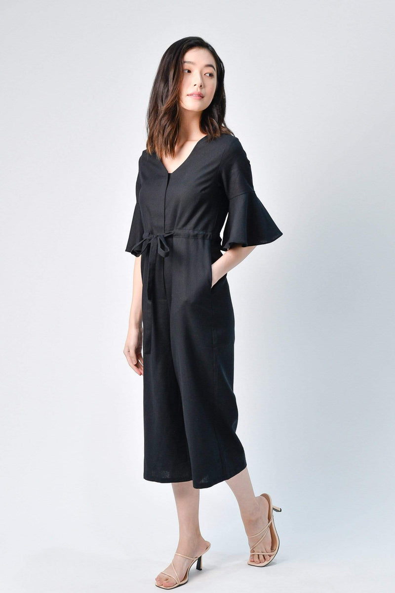 BOA BLACK LINEN JUMPSUIT