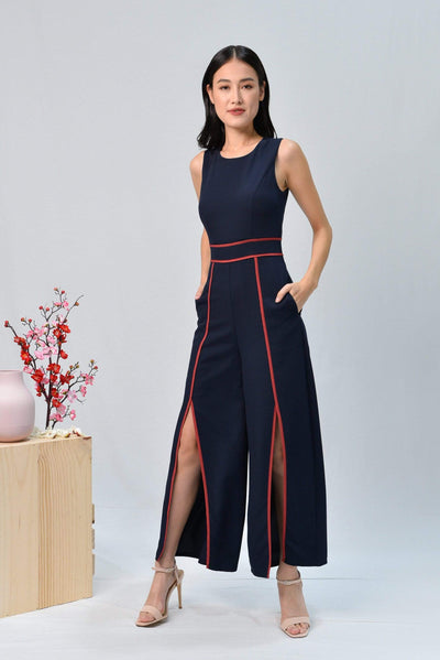 AWE One Piece DEBRA NAVY FRONT-SLIT JUMPSUIT
