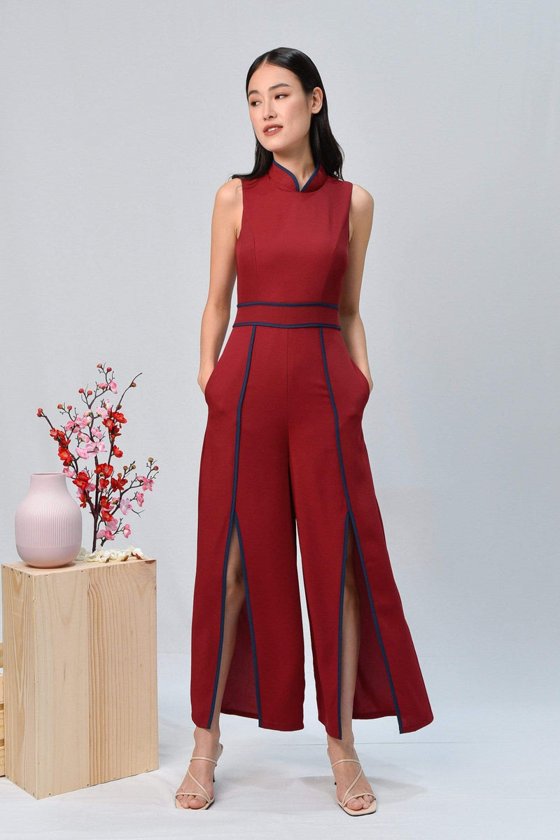 AWE One Piece DEBRA WINE FRONT-SLIT JUMPSUIT