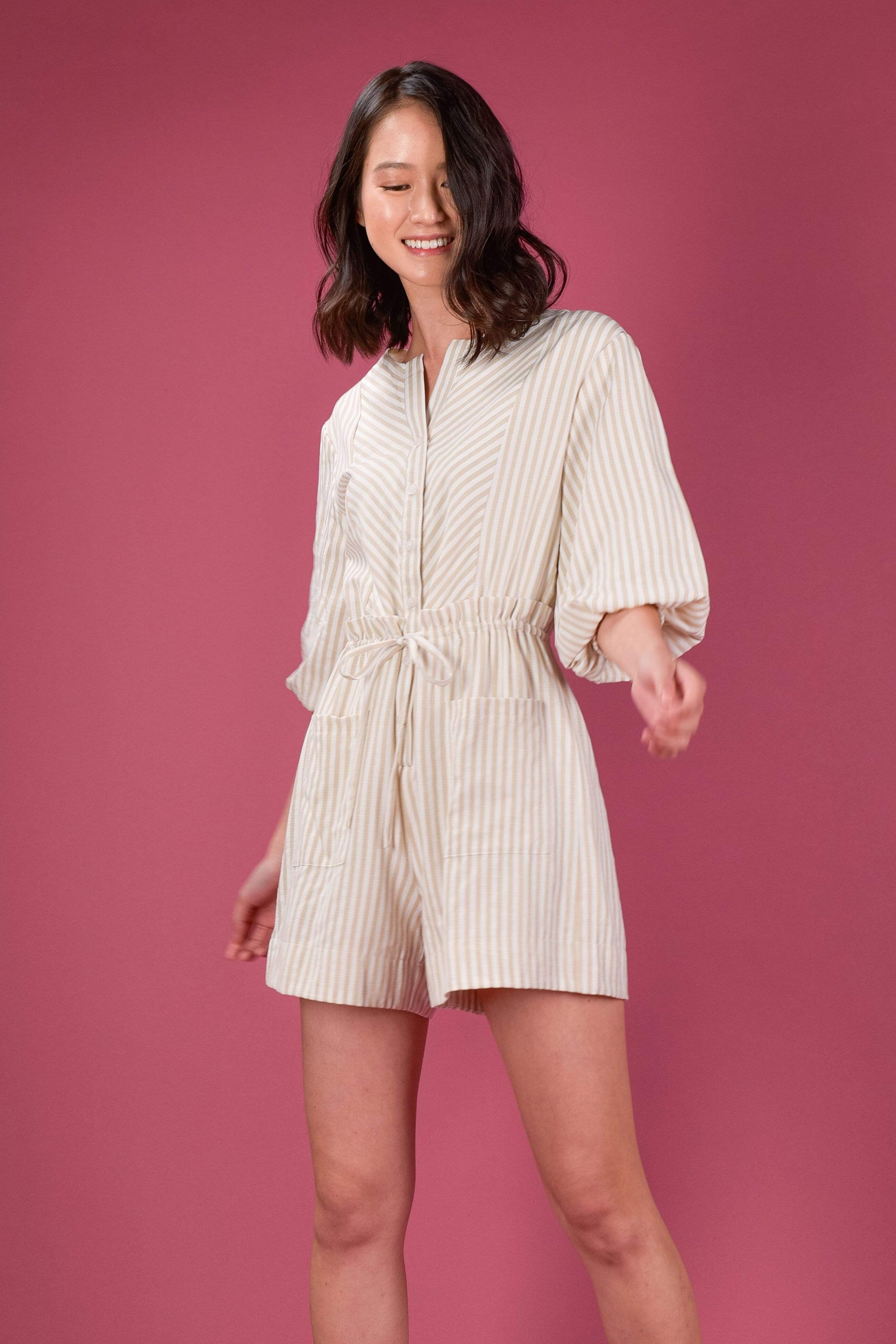 AWE One Piece ESTHER STRIPE DRAWSTRING ROMPER IN SAND