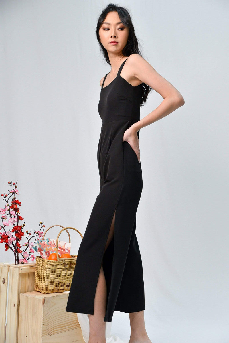 KATHLEEN BLACK SIDE-SLIT JUMPSUIT