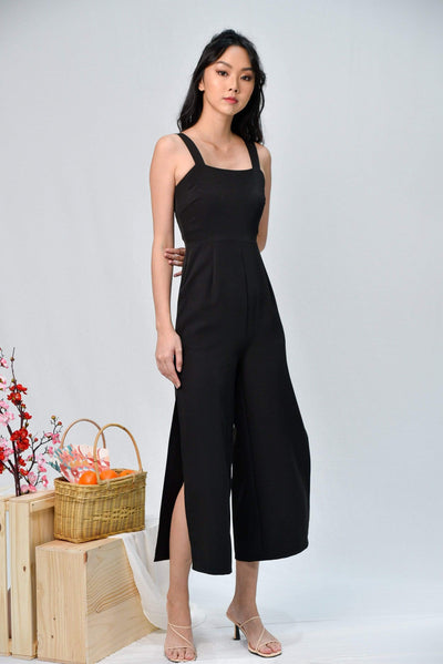 AWE One Piece KATHLEEN BLACK SIDE-SLIT JUMPSUIT