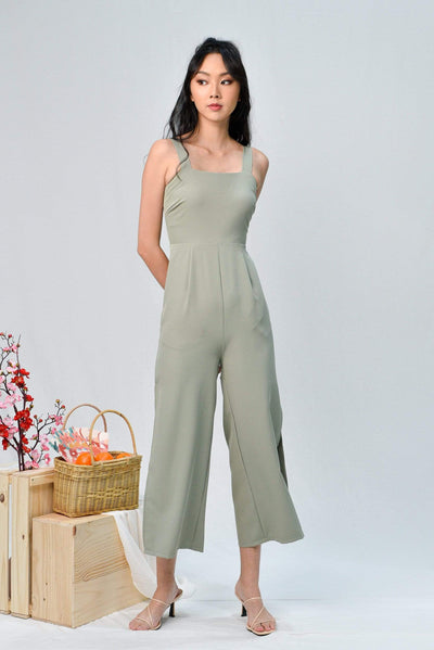 AWE One Piece KATHLEEN SAGE SIDE-SLIT JUMPSUIT