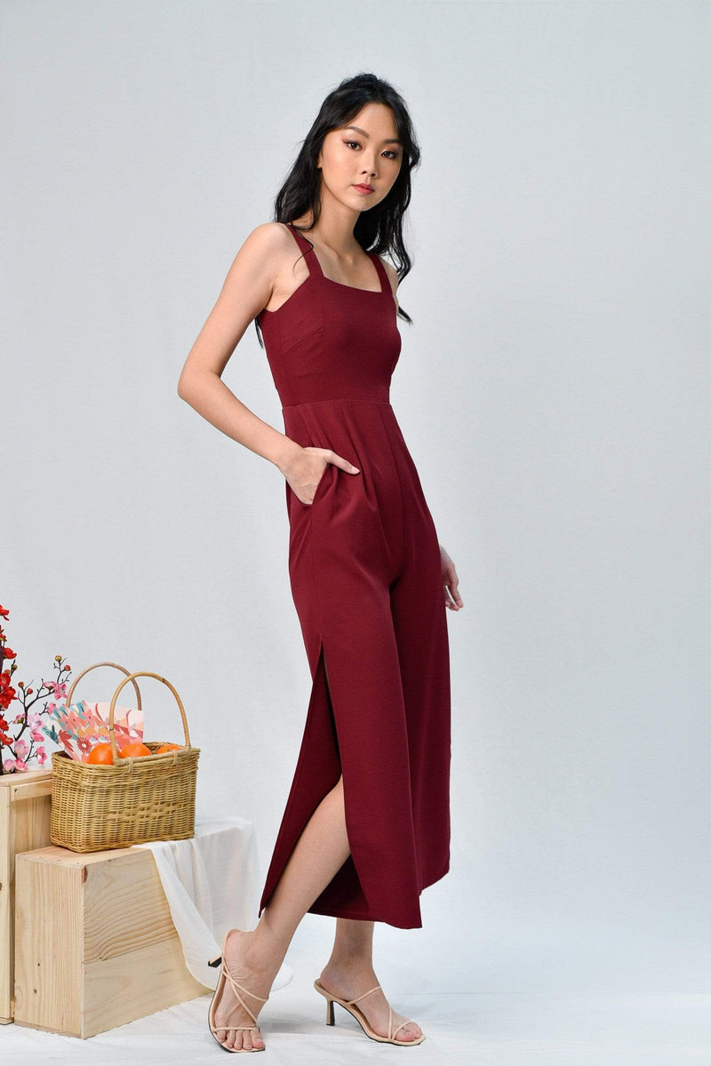 KATHLEEN WINE SIDE-SLIT JUMPSUIT